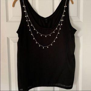 Black BR blouse with detachable necklace